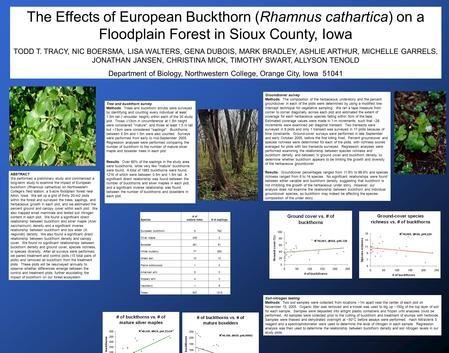 ABSTRACT We performed a preliminary study and commenced a long-term study to examine the impact of European buckthorn (Rhamnus cathartica) on Northwestern.