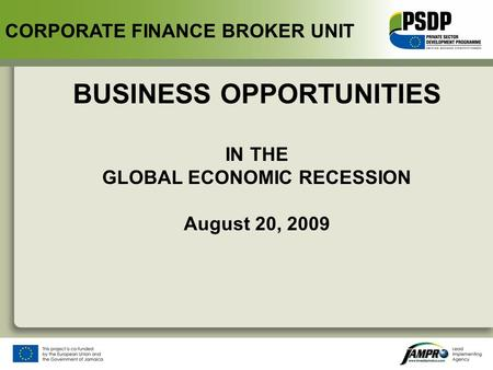 BUSINESS OPPORTUNITIES IN THE GLOBAL ECONOMIC RECESSION August 20, 2009 CORPORATE FINANCE BROKER UNIT.