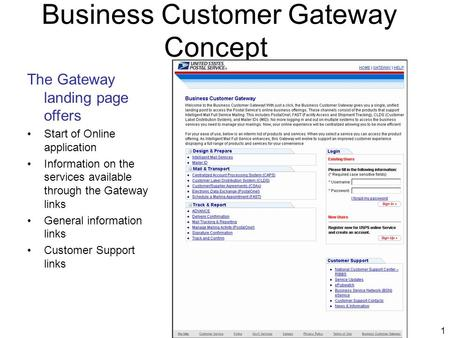 1 Business Customer Gateway Concept The Gateway landing page offers Start of Online application Information on the services available through the Gateway.