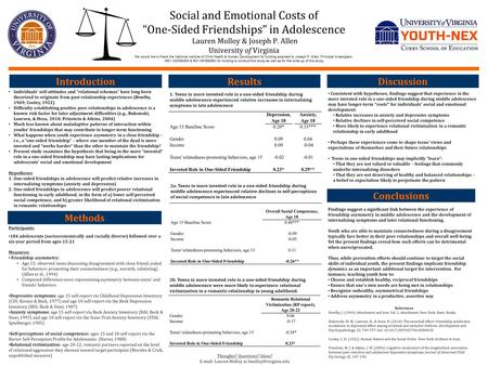 "Social and Emotional Costs of ""One-Sided Friendships"" in Adolescence. Lauren Molloy & Joseph P. Allen University of Virginia We would like to thank the."