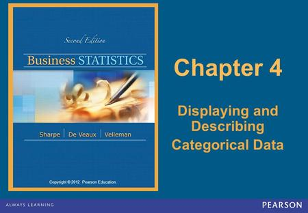 Copyright © 2012 Pearson Education. Chapter 4 Displaying and Describing Categorical Data.