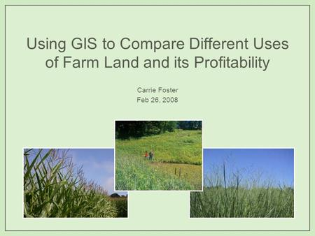 Using GIS to Compare Different Uses of Farm Land and its Profitability Carrie Foster Feb 26, 2008.