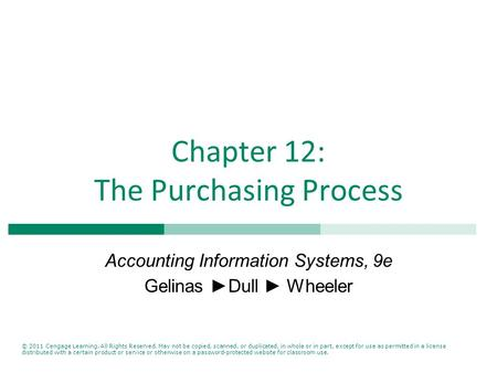 Chapter 12: The Purchasing Process