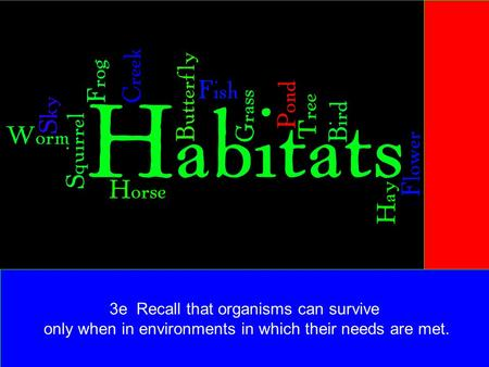 3e Recall that organisms can survive only when in environments in which their needs are met.