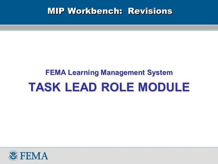 MIP Workbench: Revisions FEMA Learning Management System TASK LEAD ROLE MODULE.