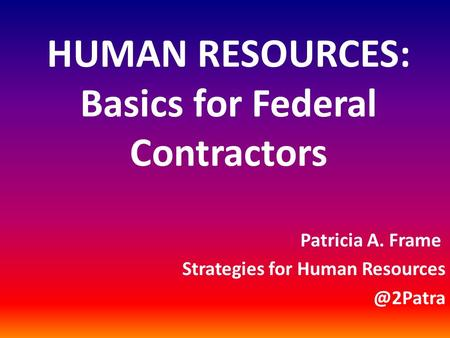 HUMAN RESOURCES: Basics for Federal Contractors Patricia A. Frame Strategies for Human