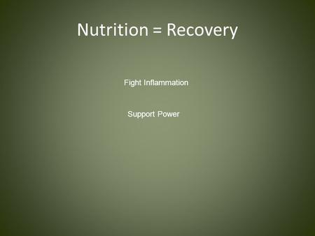 Nutrition = Recovery Fight Inflammation Support Power.