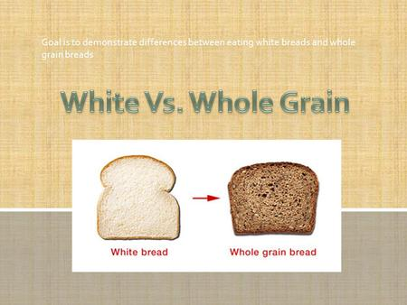 Goal is to demonstrate differences between eating white breads and whole grain breads.