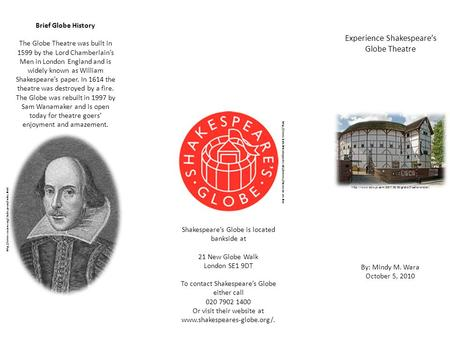 Experience Shakespeare's Globe Theatre By: Mindy M. Wara October 5, 2010  Brief Globe History The.