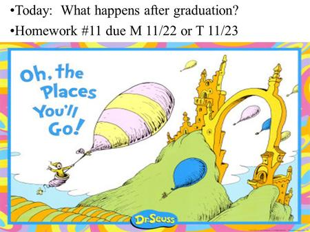 Today: What happens after graduation? Homework #11 due M 11/22 or T 11/23.
