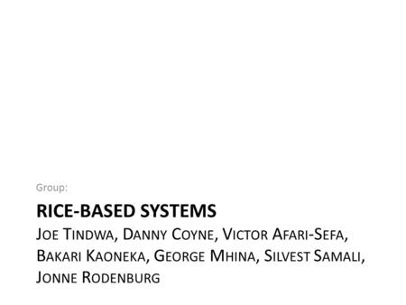RICE-BASED SYSTEMS J OE T INDWA, D ANNY C OYNE, V ICTOR A FARI -S EFA, B AKARI K AONEKA, G EORGE M HINA, S ILVEST S AMALI, J ONNE R ODENBURG Group: