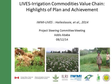 LIVES-Irrigation Commodities Value Chain: Highlights of Plan and Achievement IWMI-LIVES : Haileslassie, et al., 2014 Project Steering Committee Meeting.
