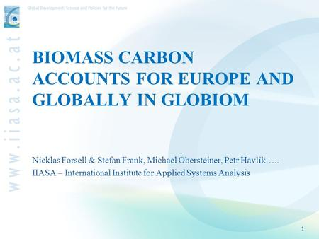 BIOMASS CARBON ACCOUNTS FOR EUROPE AND GLOBALLY IN GLOBIOM Nicklas Forsell & Stefan Frank, Michael Obersteiner, Petr Havlík….. IIASA – International Institute.