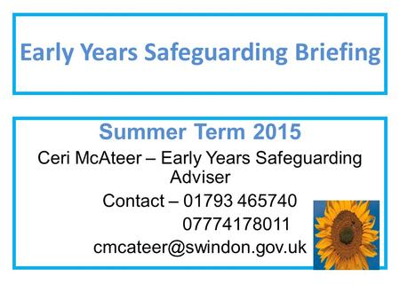 Early Years Safeguarding Briefing Summer Term 2015 Ceri McAteer – Early Years Safeguarding Adviser Contact – 01793 465740 07774178011