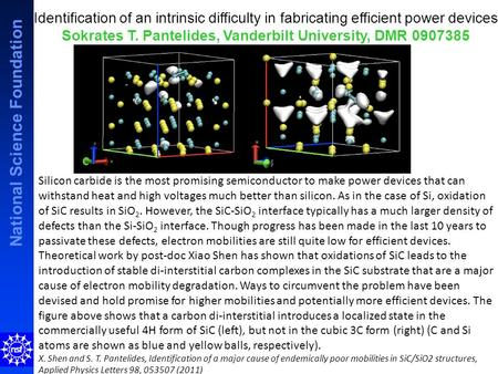 National Science Foundation Identification of an intrinsic difficulty in fabricating efficient power devices Sokrates T. Pantelides, Vanderbilt University,
