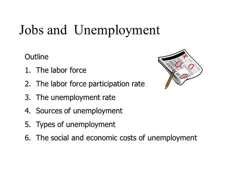 Jobs and Unemployment Outline 1.The labor force 2.The labor force participation rate 3.The unemployment rate 4.Sources of unemployment 5.Types of unemployment.