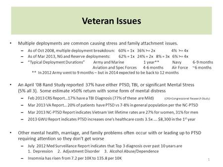 Veteran Issues 1 Multiple deployments are common causing stress and family attachment issues. – As of Oct 2008, multiple deployment breakdown: 60% = 1x.