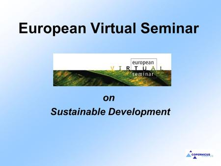 European Virtual Seminar on Sustainable Development.