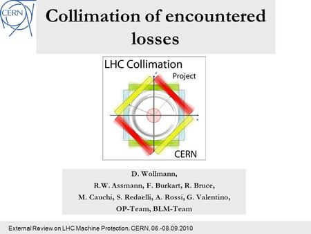 External Review on LHC Machine Protection, CERN, 06.-08.09.2010 Collimation of encountered losses D. Wollmann, R.W. Assmann, F. Burkart, R. Bruce, M. Cauchi,