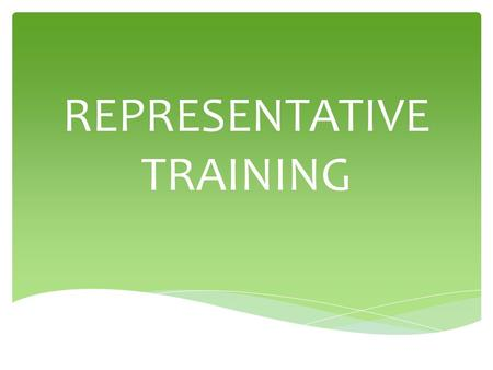 REPRESENTATIVE TRAINING. COMPENSATION PLAN AN OVERVIEW.