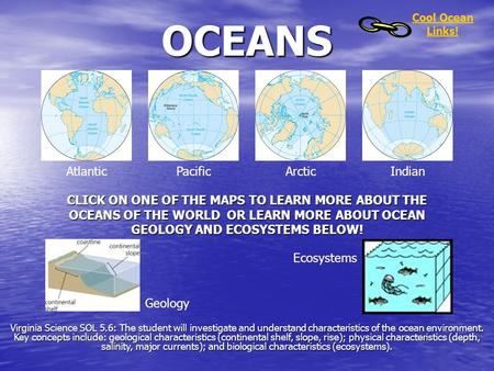 OCEANS AtlanticPacificArcticIndian CLICK ON ONE OF THE MAPS TO LEARN MORE ABOUT THE OCEANS OF THE WORLD OR LEARN MORE ABOUT OCEAN GEOLOGY AND ECOSYSTEMS.