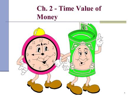 1 Ch. 2 - Time Value of Money 2 Implied Interest Rates Internal Rate of Return Time necessary to accumulate funds Time Value of Money (applications)