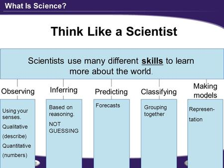 What Is Science? Think Like a Scientist Scientists use many different skills to learn more about the world. Observing Inferring PredictingClassifying Making.