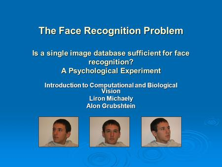 The Face Recognition Problem Is a single image database sufficient for face recognition? A Psychological Experiment Introduction to Computational and Biological.