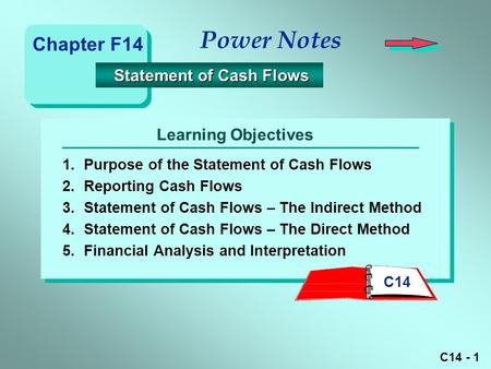 C14 - 1 Learning Objectives Power Notes 1.Purpose of the Statement of Cash Flows 2.Reporting Cash Flows 3.Statement of Cash Flows – The Indirect Method.