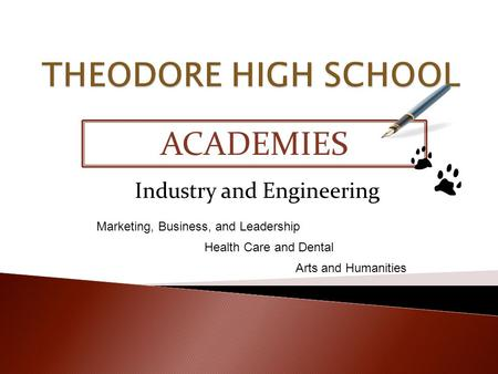 ACADEMIES Industry and Engineering Marketing, Business, and Leadership Health Care and Dental Arts and Humanities.