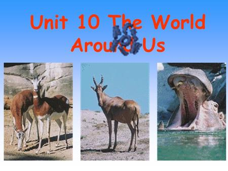 Unit 10 The World Around Us 1. use…for/as/to do 3. endanger 6. take turns (at/in) doing sth 2. in danger/ out of danger 5. die out 4. make sure eg: The.