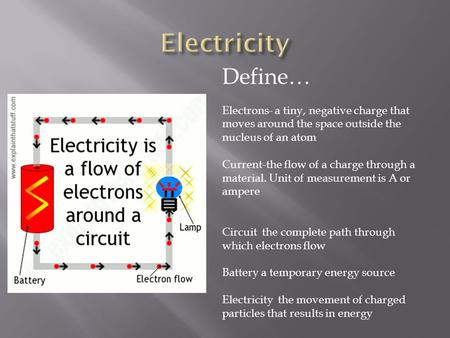 Define… Electrons- a tiny, negative charge that moves around the space outside the nucleus of an atom Current-the flow of a charge through a material.