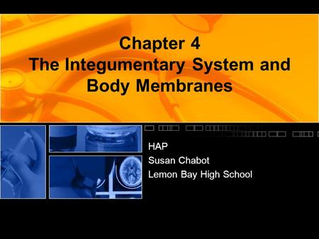Chapter 4 The Integumentary System and Body Membranes HAP Susan Chabot Lemon Bay High School.