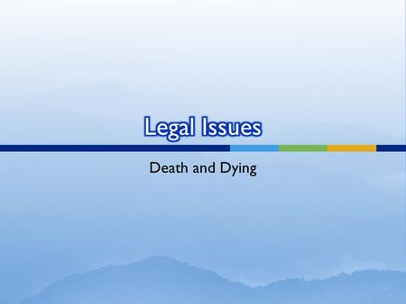 Death and Dying. Leaving off the question of the morality or ethical permissibility of suicide, the law has been clear on 2 points regarding it: 1914:
