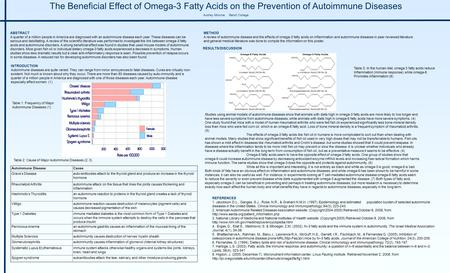 The Beneficial Effect of Omega-3 Fatty Acids on the Prevention of Autoimmune Diseases Audrey Monroe Beloit College ABSTRACT A quarter of a million people.
