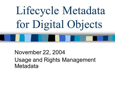 Lifecycle Metadata for Digital Objects November 22, 2004 Usage and Rights Management Metadata.