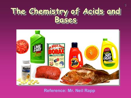 1 The Chemistry of Acids and Bases Reference: Mr. Neil Rapp.