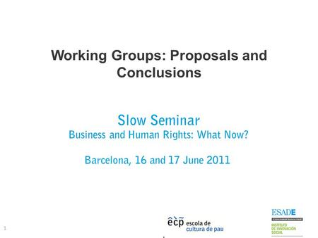 Working Groups: Proposals and Conclusions 1 Slow Seminar Business and Human Rights: What Now? Barcelona, 16 and 17 June 2011.