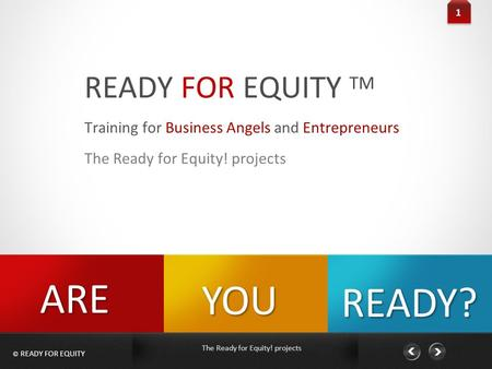 © READY FOR EQUITY The Ready for Equity! projects READY FOR EQUITY TM 1 Training for Business Angels and Entrepreneurs The Ready for Equity! projects YOU.