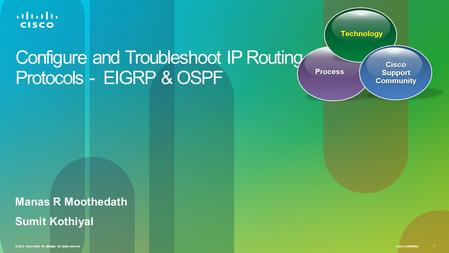 Cisco Confidential 1 © 2010 Cisco and/or its affiliates. All rights reserved. Configure and Troubleshoot IP Routing Protocols - EIGRP & OSPF Manas R Moothedath.