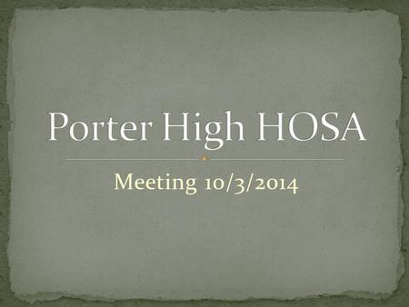 Meeting 10/3/2014. Sign in Sheet Break into groups and Meet and Greet until 3:02 Slide Show.