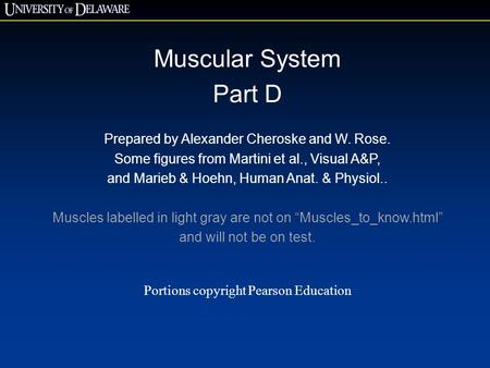 Muscular System Part D Prepared by Alexander Cheroske and W. Rose. Some figures from Martini et al., Visual A&P, and Marieb & Hoehn, Human Anat. & Physiol..