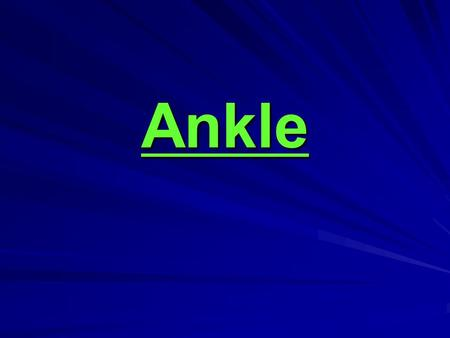 Ankle. Bones and Joints The ankle joint is formed by the connection of three bones. The ankle bone is called the talus. The top of the talus fits inside.