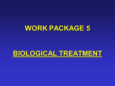 WORK PACKAGE 5 BIOLOGICAL TREATMENT. PARTICIPANTS:  Lqars  Cemagref  Tratolixo PERIOD: 1 – 24 (Months)