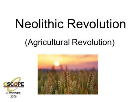 © CSCOPE 2008 Neolithic Revolution (Agricultural Revolution)