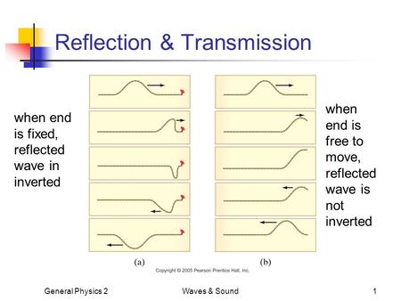 General Physics 2Waves & Sound1 Reflection & Transmission when end is fixed, reflected wave in inverted when end is free to move, reflected wave is not.