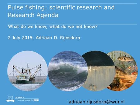 Pulse fishing: scientific research and Research Agenda What do we know, what do we not know? 2 July 2015, Adriaan D. Rijnsdorp