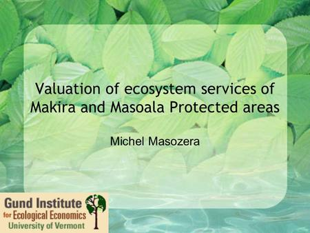 Valuation of ecosystem services of Makira and Masoala Protected areas Michel Masozera.