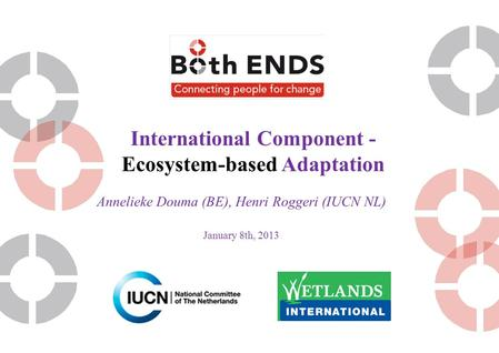 International Component - Ecosystem-based Adaptation Annelieke Douma (BE), Henri Roggeri (IUCN NL)‏ January 8th, 2013.