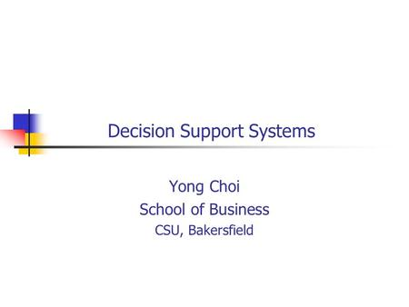 Decision Support Systems Yong Choi School of Business CSU, Bakersfield.